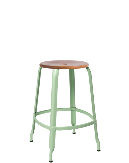 TABOURET NICOLLE BOIS METAL H60